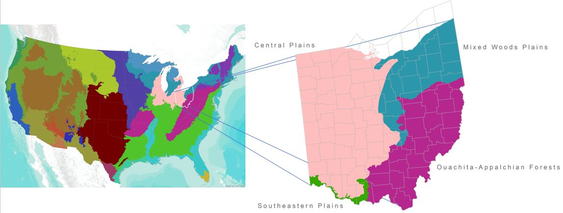 Ecological regions in the U.S. and OH