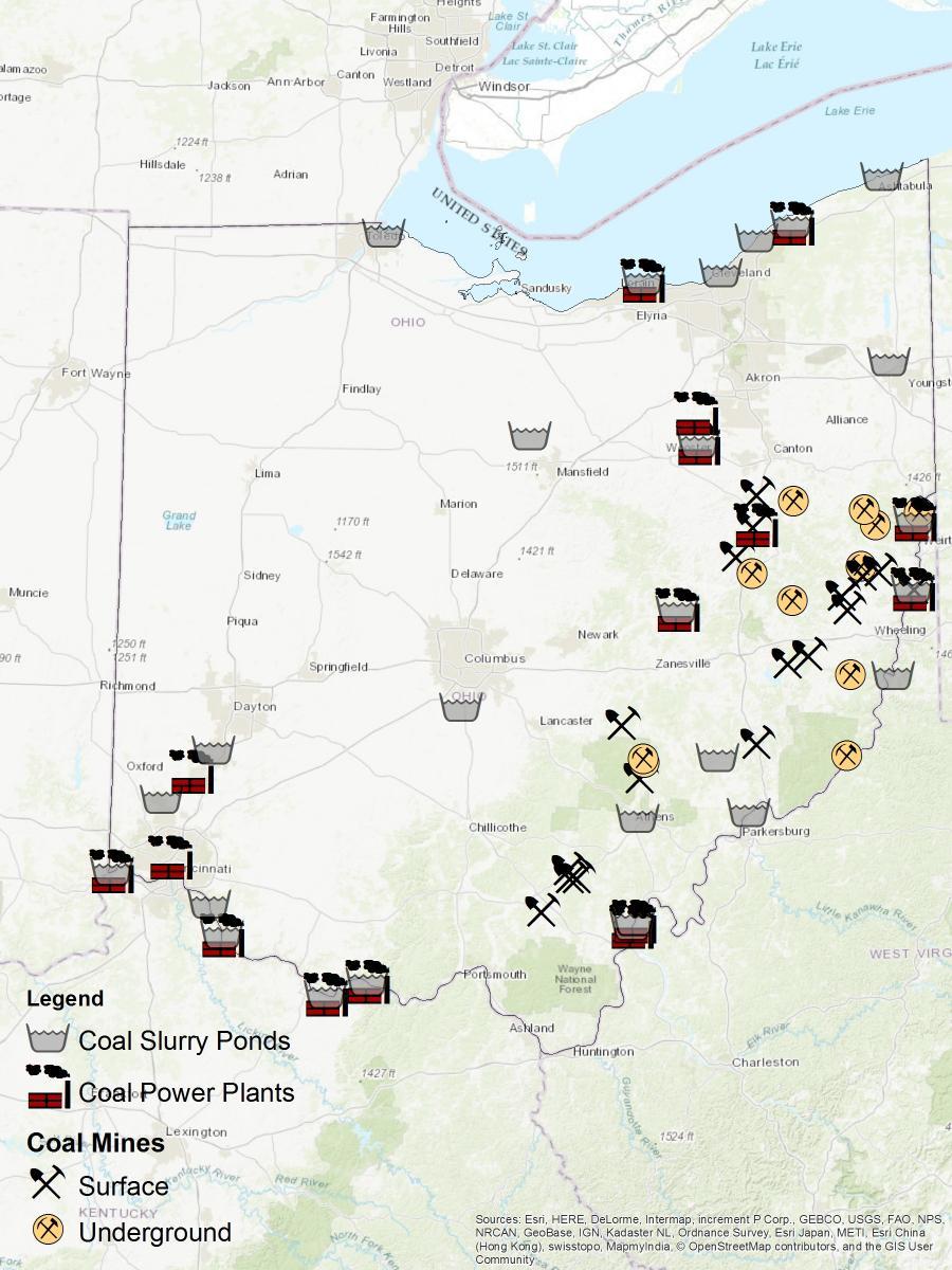 Ohio coal mines ponds and plants